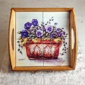 Vintage Annie LaPoint Floral Tile & Wood Tray